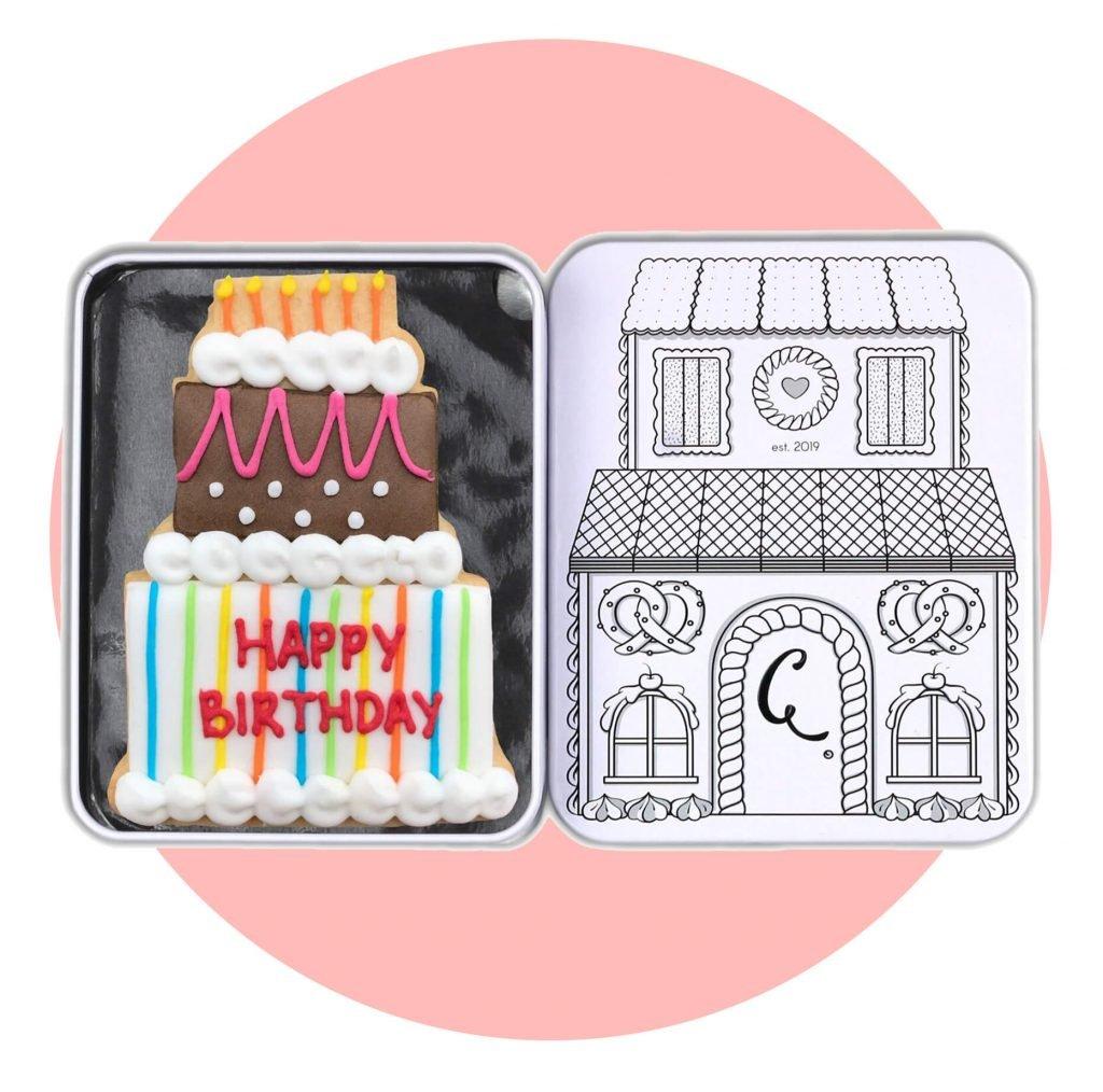 Birthday Cake Single Tin with pink background