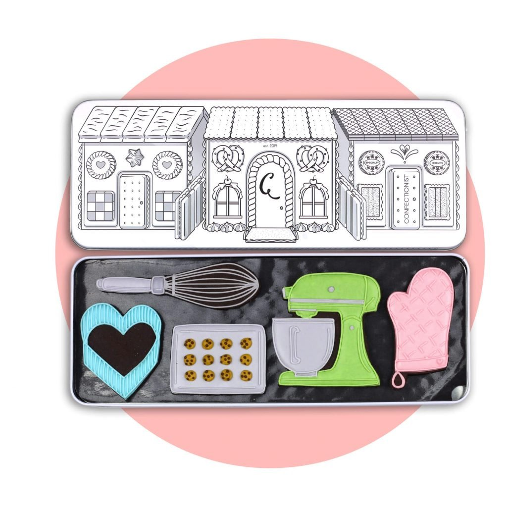 baking set with pink background