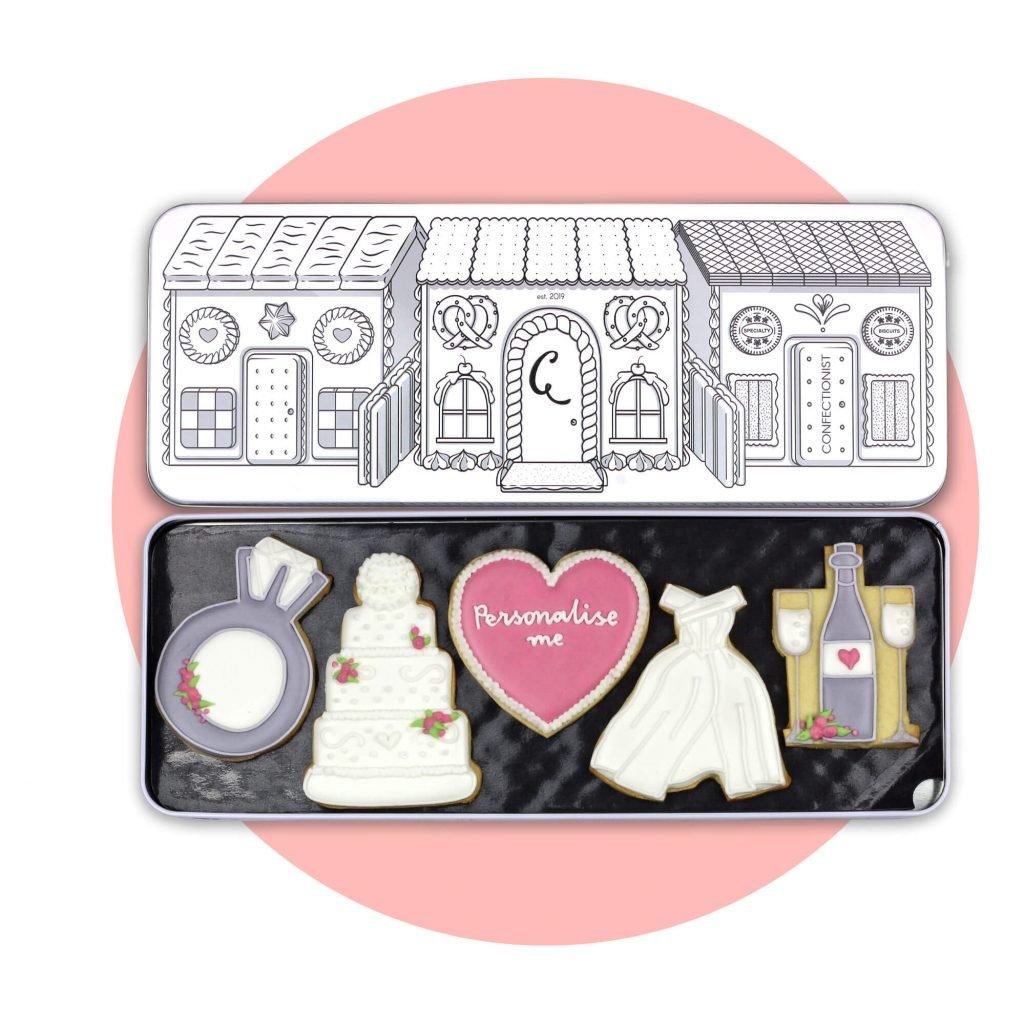 Wedding Biscuit Set with pink background