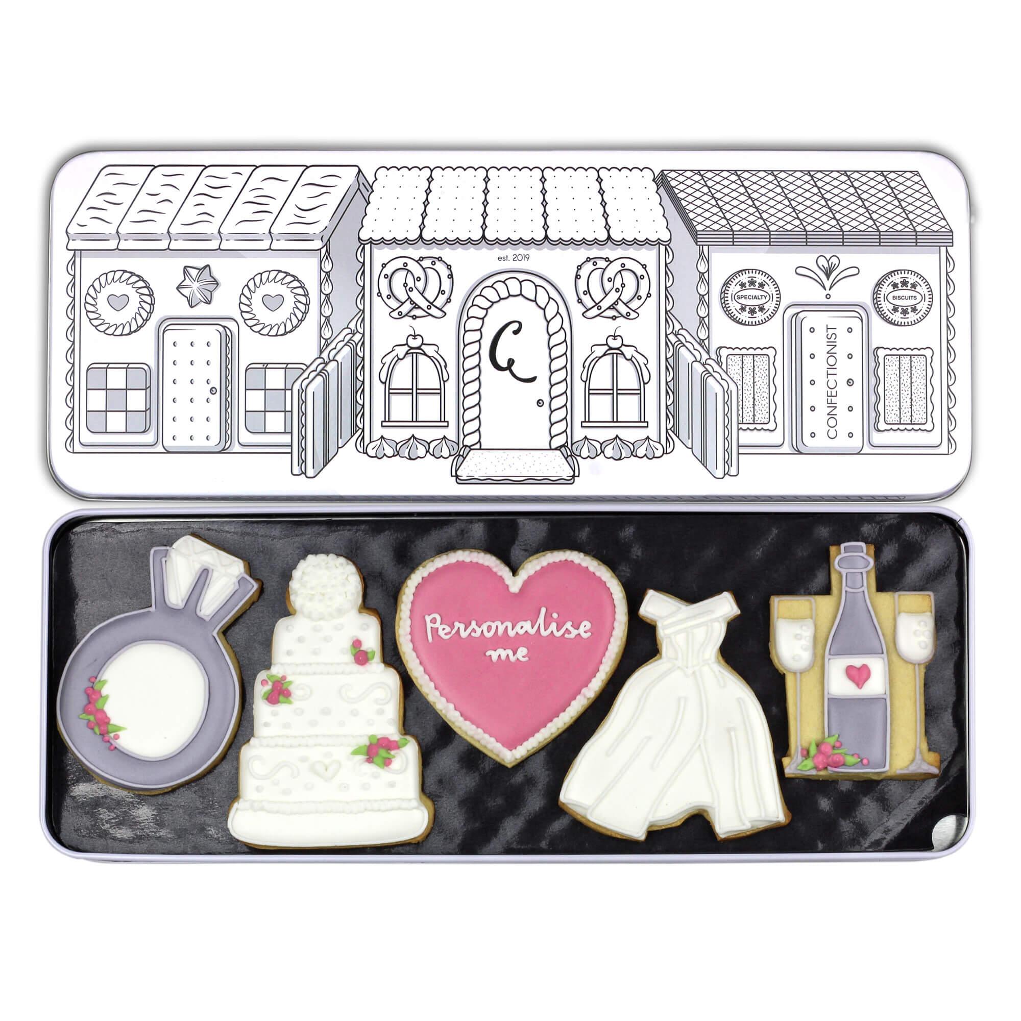 wedding cookie set in tin